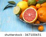 different fresh citrus fruit in ... | Shutterstock . vector #367100651
