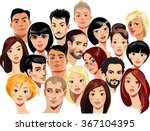 vector portraits of faces of... | Shutterstock .eps vector #367104395