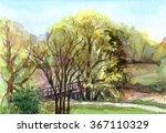 Spring Watercolor Landscape...