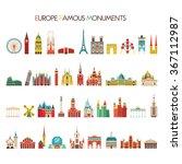 europe famous monuments set.... | Shutterstock .eps vector #367112987