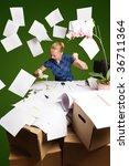 businesswoman in her office...   Shutterstock . vector #36711364