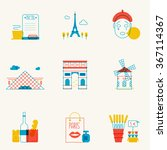 set of linear paris icons. main ... | Shutterstock .eps vector #367114367