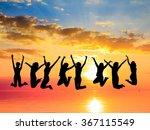 jumping over sunset friends... | Shutterstock . vector #367115549
