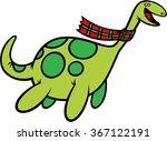 Stock vector vector illustration of loch ness monster with tartan scarf 367122191