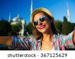 girl in the hat making selfie... | Shutterstock . vector #367125629