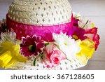 Fresh Flowers On A Wedding Hat...
