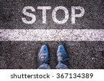 word stop written on an asphalt ... | Shutterstock . vector #367134389