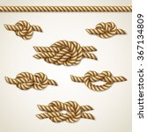 yellow nautical rope knots set... | Shutterstock .eps vector #367134809