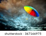 rainbow umbrella floating over... | Shutterstock . vector #367166975