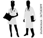 doctor and nurse discussing... | Shutterstock .eps vector #367182899