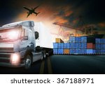 truck loading container in ship ... | Shutterstock . vector #367188971