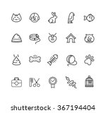 pet web outline icon set....