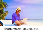 man with laptop on tropical... | Shutterstock . vector #367208411