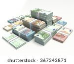 stacked euro banknotes.   | Shutterstock . vector #367243871