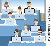 men and women working in a call ... | Shutterstock .eps vector #367256189
