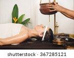 caucasian woman having ayurveda ... | Shutterstock . vector #367285121