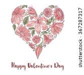 valentine day floral heart shape | Shutterstock .eps vector #367287317