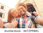 multiracial couple taking... | Shutterstock . vector #367299881