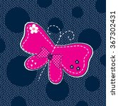 Beautiful Butterfly On Polka...