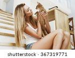 happy stylish smiling blonde... | Shutterstock . vector #367319771