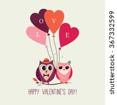 valentine's day card with owls... | Shutterstock .eps vector #367332599
