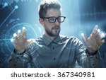man works on a hud touchscreen... | Shutterstock . vector #367340981