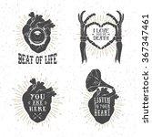 hand drawn textured romantic... | Shutterstock .eps vector #367347461