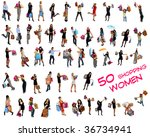 collection of 50 shopping women ... | Shutterstock . vector #36734941
