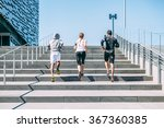 three young friends running on... | Shutterstock . vector #367360385