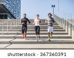 three young friends running on... | Shutterstock . vector #367360391