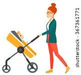 woman pushing pram. | Shutterstock .eps vector #367361771