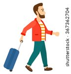 man walking with suitcase. | Shutterstock .eps vector #367362704