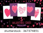 set of hand drawn valentines... | Shutterstock .eps vector #367374851