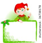 Cute Christmas Elf With A Plac...