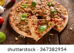 homemade pizza with green... | Shutterstock . vector #367382954