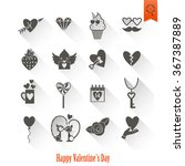 happy valentines day icons | Shutterstock .eps vector #367387889