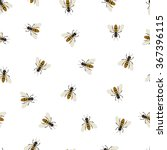 Bee Seamless Pattern. Black An...