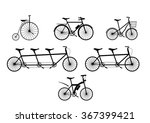 Group Of Bicycle Silhouettes...