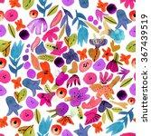 Watercolor Flower Pattern...