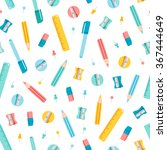 colorful stationery supplies... | Shutterstock .eps vector #367444649