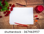 white paper on a stone wall... | Shutterstock . vector #367463957
