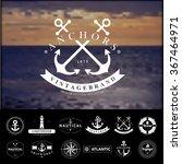 set of vintage  nautical badges ... | Shutterstock .eps vector #367464971