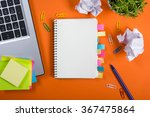 office table desk with set of... | Shutterstock . vector #367475864