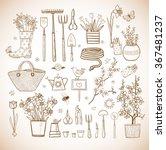 big set of hand drawn vintage... | Shutterstock .eps vector #367481237