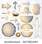 sketches of wood cuts  logs ... | Shutterstock .eps vector #367481444