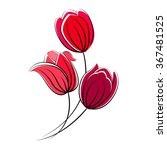 Stylized Red Tulips Isolated O...