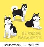 Dog Alaskan Malamute Cartoon...