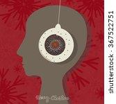 head with headphones. christmas ... | Shutterstock .eps vector #367522751