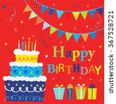 birthday party with bunting and ... | Shutterstock .eps vector #367528721