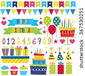 birthday party set with cupcake ... | Shutterstock .eps vector #367530251
